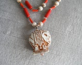Vintage Celluloid / Early Plastic Elephant and Red Bead Necklace