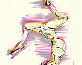 Yoga Art -- Original color drawing on paper // Forearm Stand