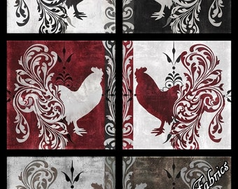 """Quilting Treasures """"Bonjour"""" #23904-J Fancy Roosters  Fabric Panel 24"""" x 44"""""""