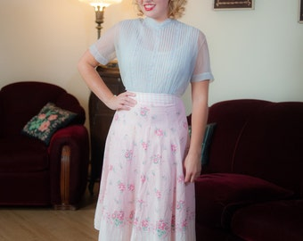 Vintage 1940s Skirt - Sweet Pink and White Floral and Ribbons Border Print A Line 40s Skirt