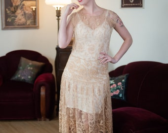 Vintage 1920s Wedding Dress - Lovely Sheer Champagne Floral Fillet Lace 20s Bridal Dress with Classic Gathered Drop Waist