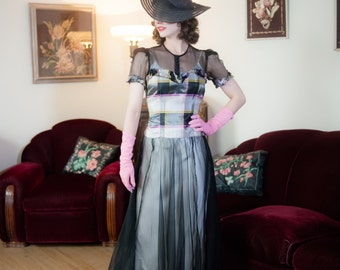 Vintage 1930s Dress - Glorious Sheer Black Net with Plaid Taffeta 30s Garden Party Gown