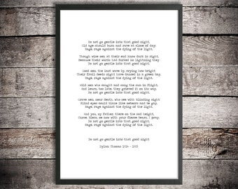 Dylan Thomas Printable Download Poetry 'Do not go gentle' Instant Download Motivational Poster Literature Print Welsh Poetry Hand Typed Art