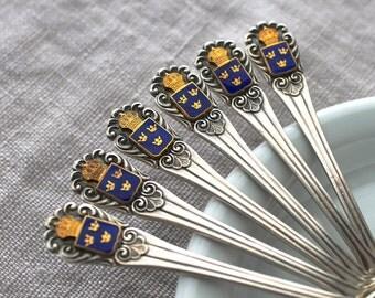 Swedish Vintage Demitasse Spoons, Mema Silver Kaffe Spoons, Sweden Triple Crown