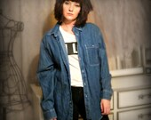 Vintage Oversized Denim Grunge Button Up - Size L/XL or One Size