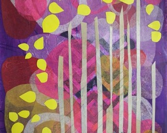 Blue Fox, fox, aspens, forest, trees, abstract landscape, whimsical, purple, wall decor, art print, modern abstract art, illustration