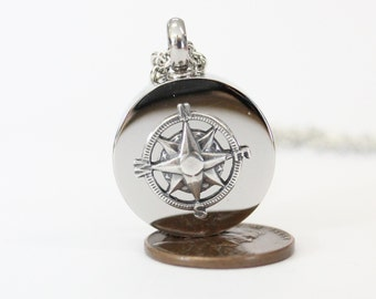 Sterling Silver Compass Rose Urn Necklace Cremation Urn Nautical Pendant Memorial Ash Keepsake  Key Chain Option 507
