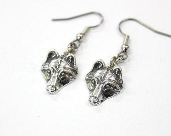 Silver Wolf Pup Earrings 017