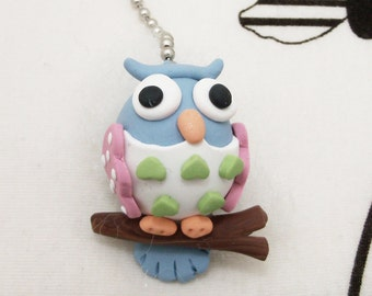Owl Ceiling Fan Pull Chain -  Blue, Pink, Green - Childrens Owl Nursery Decor - Woodland Nursery Decor - Polymer Clay