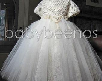 Crochet Flower girl Dress, Ivory Tulle Flower girl dress, Rustic flower girl dress, Lace flower girl dress - SADIE - Girls Dress, Barn