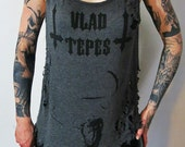 Vlad Tepes Destroyed Gray Slouch Top