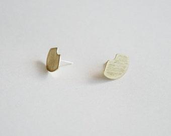 Elska Studs - Fan Shaped Earrings, Brushed Brass