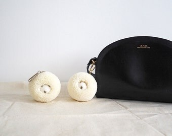 LAST PIECE - Baby Albino Hedgehog Pom Pom, bag charm, bag accessories, key chain
