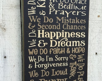 """In Our Home We do..... Family Rules, House Rules, In This Home, typography word art large 11 x 24"""" wood sign, family room decor, rustic sign"""