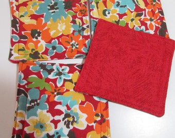 Fabric Coaster Set, Red and Teal floral set, reversible,  drink coaster, beverage coaster, hostess gift