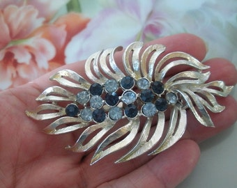 Vintage Blue Rhinestones Silverplated Brooch Pin