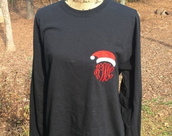 Monogrammed Santa Shirt.  Black shirt, long or sleeves. Monogrammed Christmas shirt.