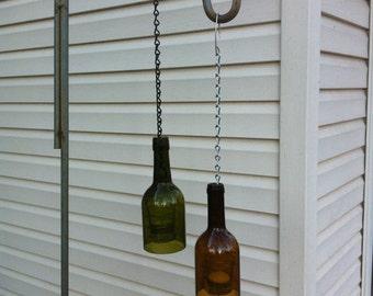 Wine Bottle Lantern with Candle