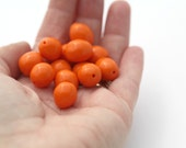Vintage Opaque Orange Lucite Oval Nugget Beads 14mm (14)