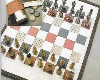 CHESS CHECKERS BACKGAMMON Game Board Sewing Pattern - Vintage Games Mat & Bags 4899 272