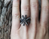Silver Anise Ring - hand carved from wax and cast in my Austin Tx Studio - Sterling Silver 925