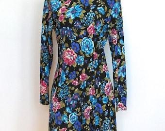 STOREWIDE SALE Vintage 1980 - 90s Grunge / Floral Print Dress w/ Mock Collar