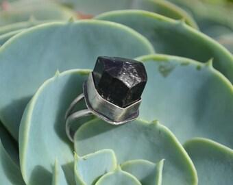 Black Tourmaline Natural stone Crystal ring Size 7.5