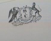 Monkey Black Bird Family Crest Notepad Vintage Inspired Monogrammed Note Pad English Heraldic Crow 75 Sheet Note Pad