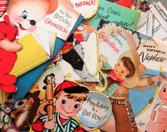 Vintage Greeting Cards, Boy Cards, Cowboy, Child Card Lot, Birthdays, Grandson Nephew, Scrapbooking Supply, Vintage Cards, Cute Kawaii Zakka