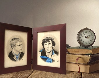 Sherlock and Watson Hinged Book Portraits | John Watson and Sherlock Holmes | Benedict Cumberbatch & Martin Freeman | Johnlock