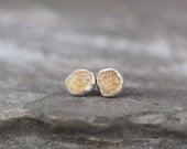 Montana Sapphire Earrings - Yellow Raw Uncut Rough Montana Sapphire - Stud Earrings - Sterling Silver - Bezel Set Tiny Stud Dot Earring