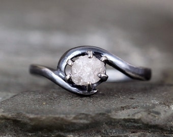 Raw Diamond Ring - 1/2 Carat Rough Diamond Gemstone -Diamond Engagement Rings -Conflict Free -Raw Gemstone - April Birthstone - Promise Ring