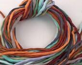 Hand Painted Silk Cord - Hand Dyed Silk - Silk Ribbon - Jewelry Supplies - Wrap Bracelet - Craft Supplies - 2mm Silk Cord Item No.373