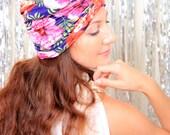 Hawaiian Print Turban - Women's Fashion Hair Wrap in Hibiscus Floral - Summer Hair Accessories