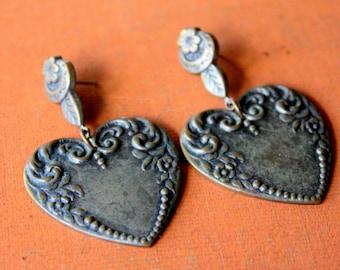 Vintage Earrings Heart Dangle Pierced Silver Tone
