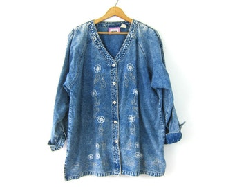vintage acid wash denim jean Tunic Shirt Oversized Baggy Button Top Top Micro Mini Dress Floral Embroidery Women's Plus Size  2X XXL