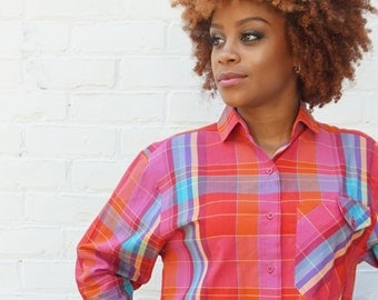 1970s 1980s Shirt Red Plaid Button Up Top