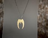 Battlestar Galactica Cylon Raider Necklace in Brass, BSG Jewelry