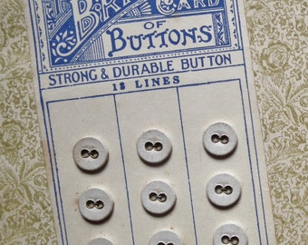 Briton Buttons - Antique Small Laundry Buttons on Original Card White Linen Cotton Vintage - Victorian Edwardian underwear washing buttons