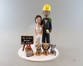 Wedding Cake Topper Customized Construction Worker & Teacher