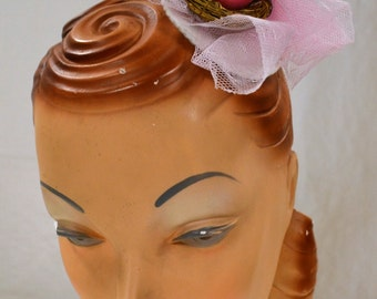Pink Bird Fascinator Hair Clip