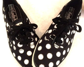 Vintage Sneakers Polka Dot Keds Sneakers Black Sneakers White Sneakers Womens Sneakers Lace Up Shoes Size 6.5 Polka Dot Shoes