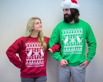 Ugly Christmas Sweater, Meowy Christmas, couple sweatshirts, cat lover gift, funny sweatshirt, graphic tee, funny tshirt, his and hers gift