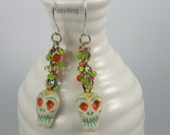Citrus Sugar Skull Earrings, ceramic skull charms on beaded chain with sterling silver wires, Day of the Dead jewelry