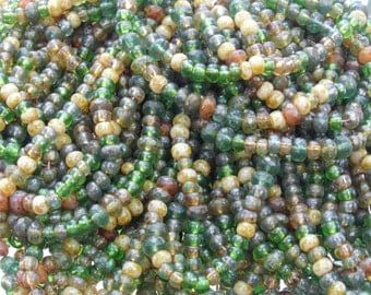 LIMITED 6/0 and 5x3mm Evergreen Picasso Firepolish Czech Glass Bead Mix 3 Strand Hank (DW198)