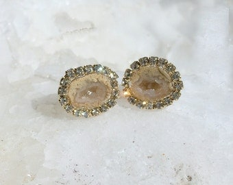 Baby Geode Stud, Tabasco Geode Slice Post Earrings Golden Beige Geode Druzy Diamond Bezel Look Earrings Gem Slice Stud Raw Gemstone - Lily
