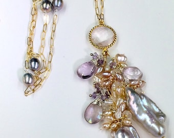 Silver Blush Biwa Pearl Necklace Long Tassel Style 14kt Gold Fill Pink Amethyst Mystic Quartz Keishi Pearl Cluster Luxury Bohemian Necklace