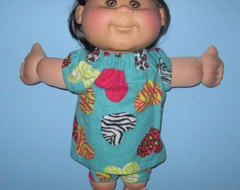 Cabbage Patch Kids, 14 Inch Doll Clothes, Wild Animal Print, Heart Pajamas, Handmade, 14 15 inch Doll Clothes