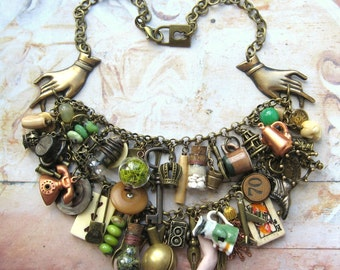 Romany Belle - Handmade Vintage Inspired Gypsy Bohemian Statement Charm Bib Necklace - Gift Box