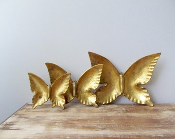 golden iron butterfly collection set of three vintage metal cast decor tray set